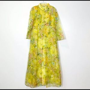 Vintage 70's Mod Floral Maxi Dress and Overcoat